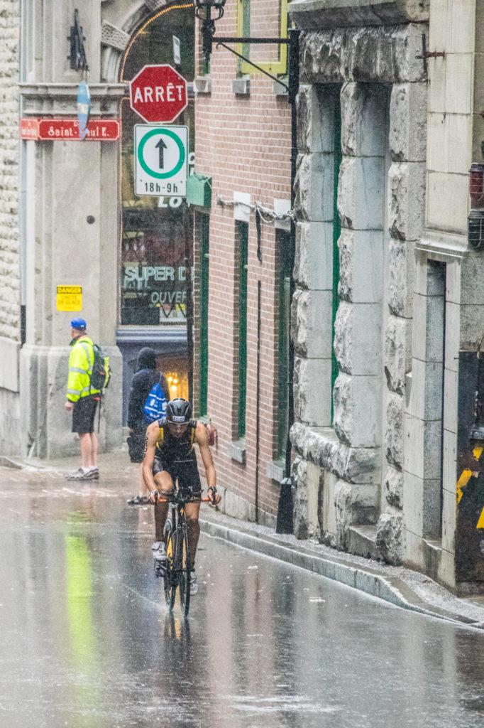 la pluie était intense sur ce triathlon international de montreal
